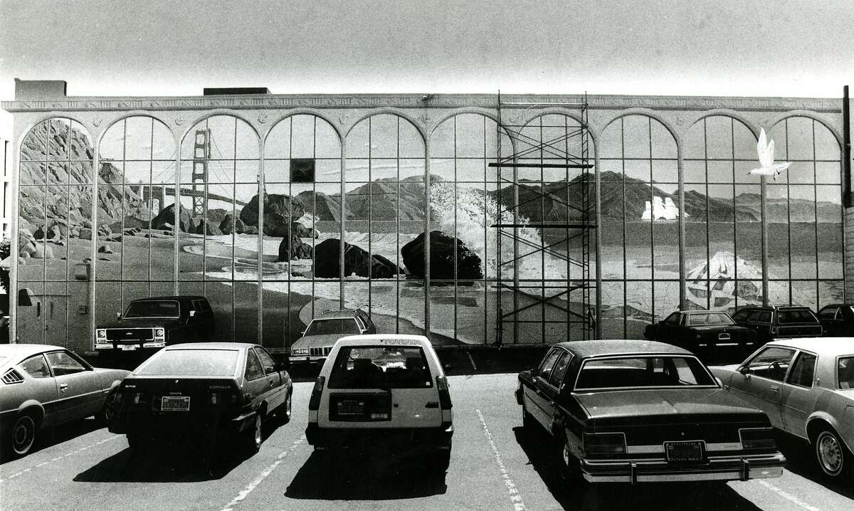 Mural on the old Bill Graham building on Fifth Street, near Howard in San Francisco. The building was torn down to make way for apartments. September 14, 1984
