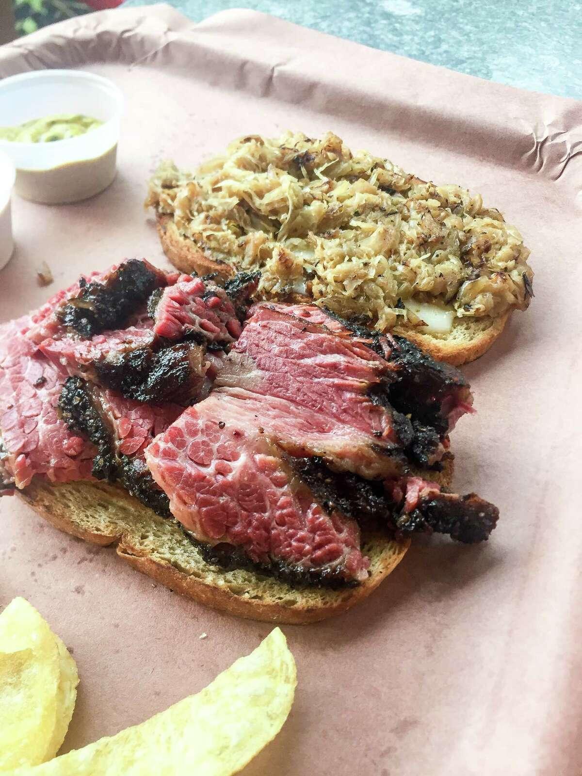 Reuben-style pastrami sandwich atTejas Chocolate Craftory