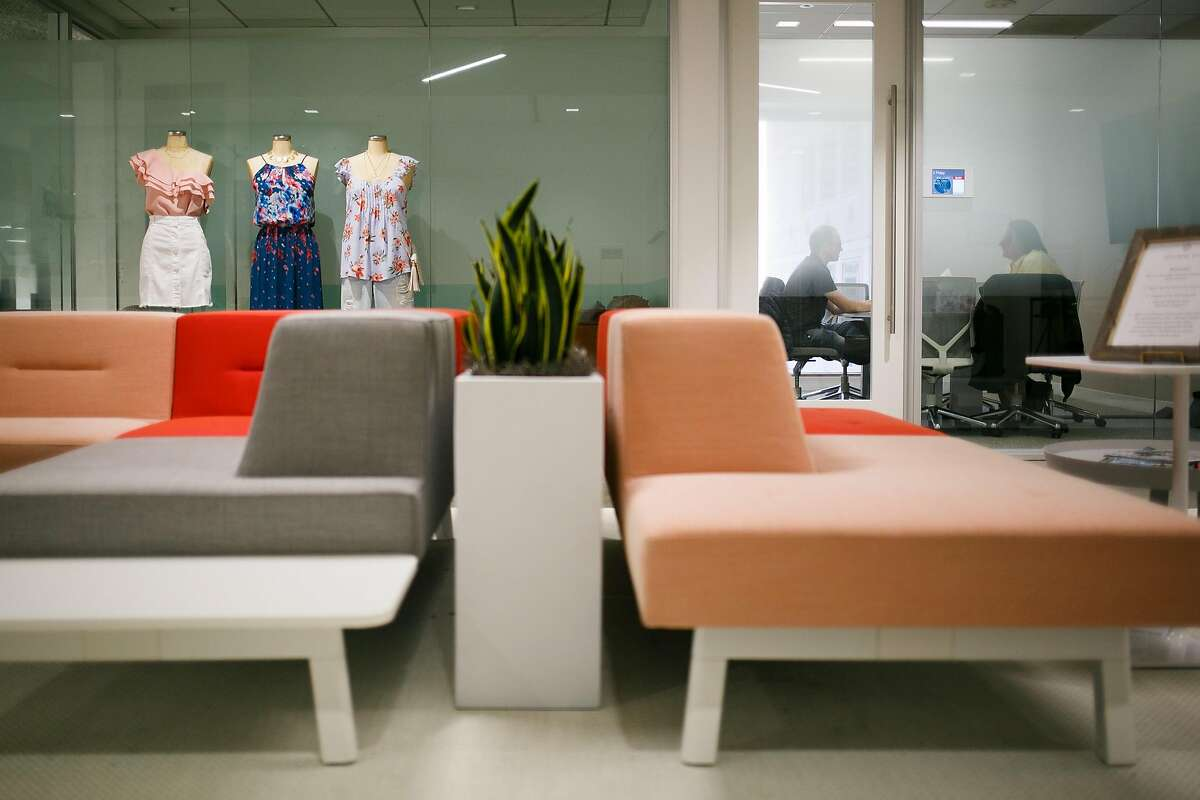 Couches are seen in the commons area at Stitch Fix's office in San Francisco, Calif. Friday, March 31, 2017.