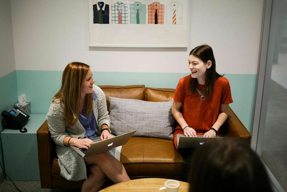 Dana Nicholson (left) and Megan Federspiel meet in one of the conference rooms at Stitch Fix in March. Photo: Mason Trinca, Special To The Chronicle
