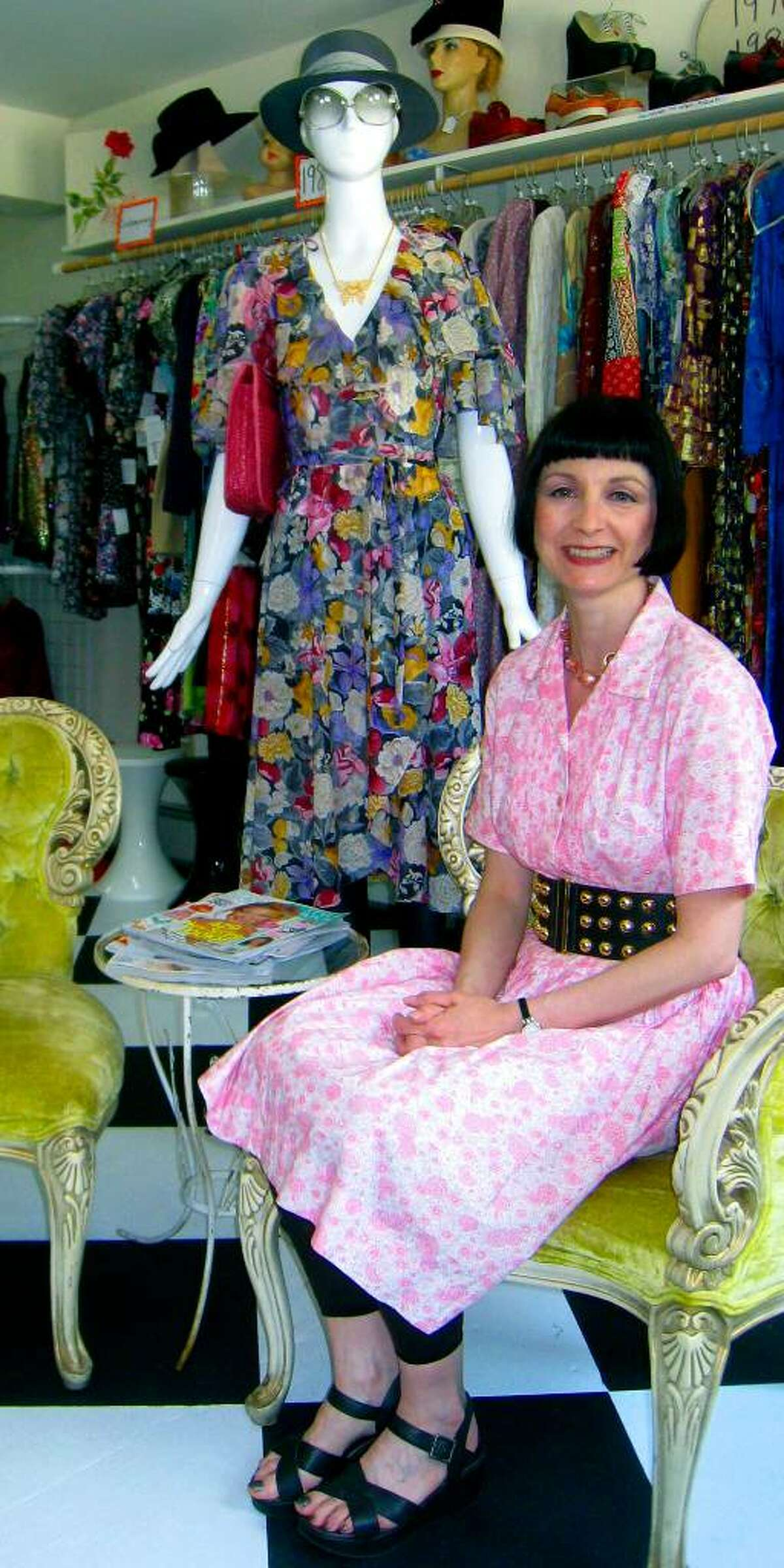 SPECTRUM/Owner Brenda Sabbatino welcome patrons at Rhiannon's Vintage Clothing along Route 7 North in New Milford, May 2010.