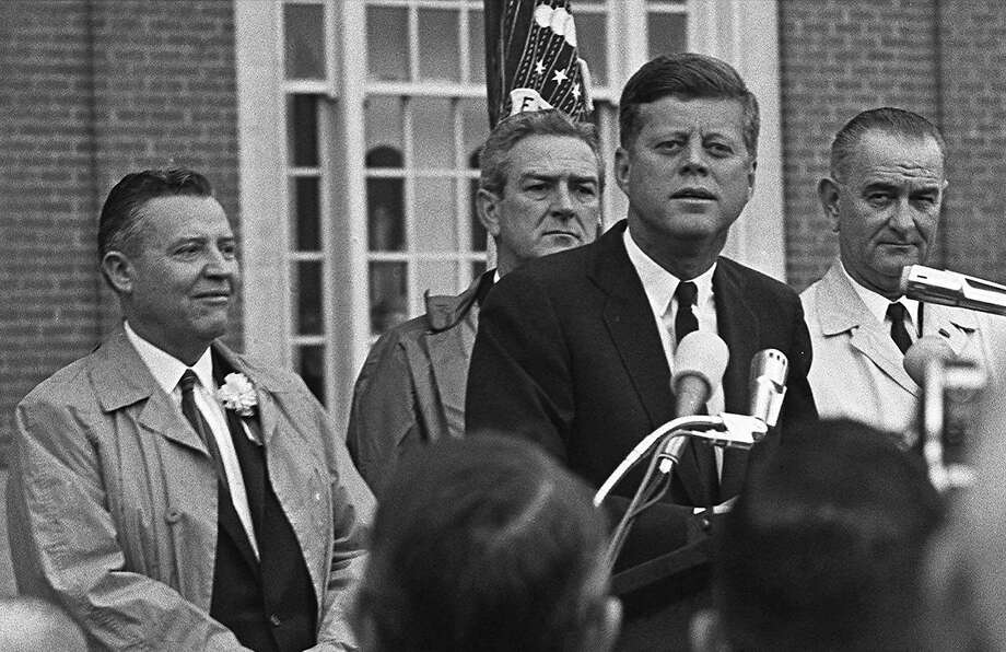 President John F. Kennedy addresses a crowd in Fort Worth, Texas, in November 1963. Just days before he was assassinated, Kennedy gave a whale tooth to Greta Garbo. The tooth, now at the center of a lawsuit between her grandnephews, has a carving on it depicting a sailing boat from Kennedy's collection of nautical items. Photo: AP