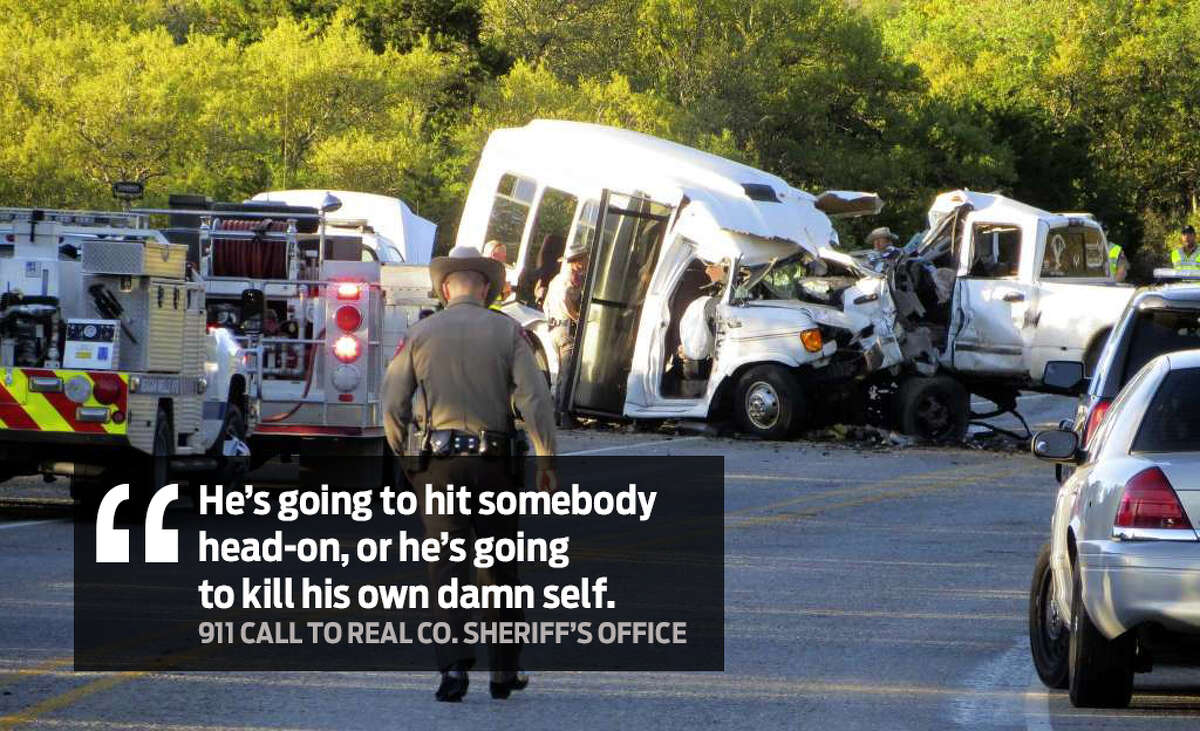 """""""He's going to hit somebody head-on, or he's going to kill his own damn self."""" Audio of emergency calls made to the Real County Sheriff's Office by Jody Kuchler, a Leakey resident, were obtained by KSAT and detail what happened moments before the crash."""