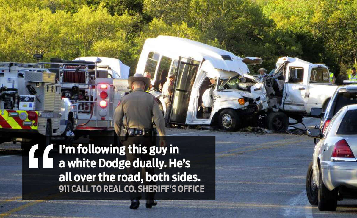 """""""I'm following this guy in a white Dodge dually. He's all over the road, both sides."""" Audio of emergency calls made to the Real County Sheriff's Office by Jody Kuchler, a Leakey resident, were obtained by KSAT and detail what happened moments before the crash."""