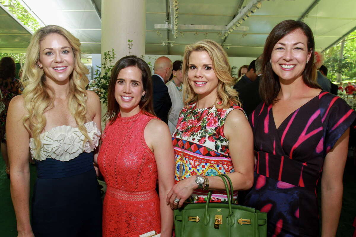 Andrea Andrus, from left, Kandi Handel, Reagan Bour and Jillian O'Neill at the Museum of Fine Arts Bayou Bend Fashion Show and Luncheon. (For the Chronicle/Gary Fountain, March 31, 2017)