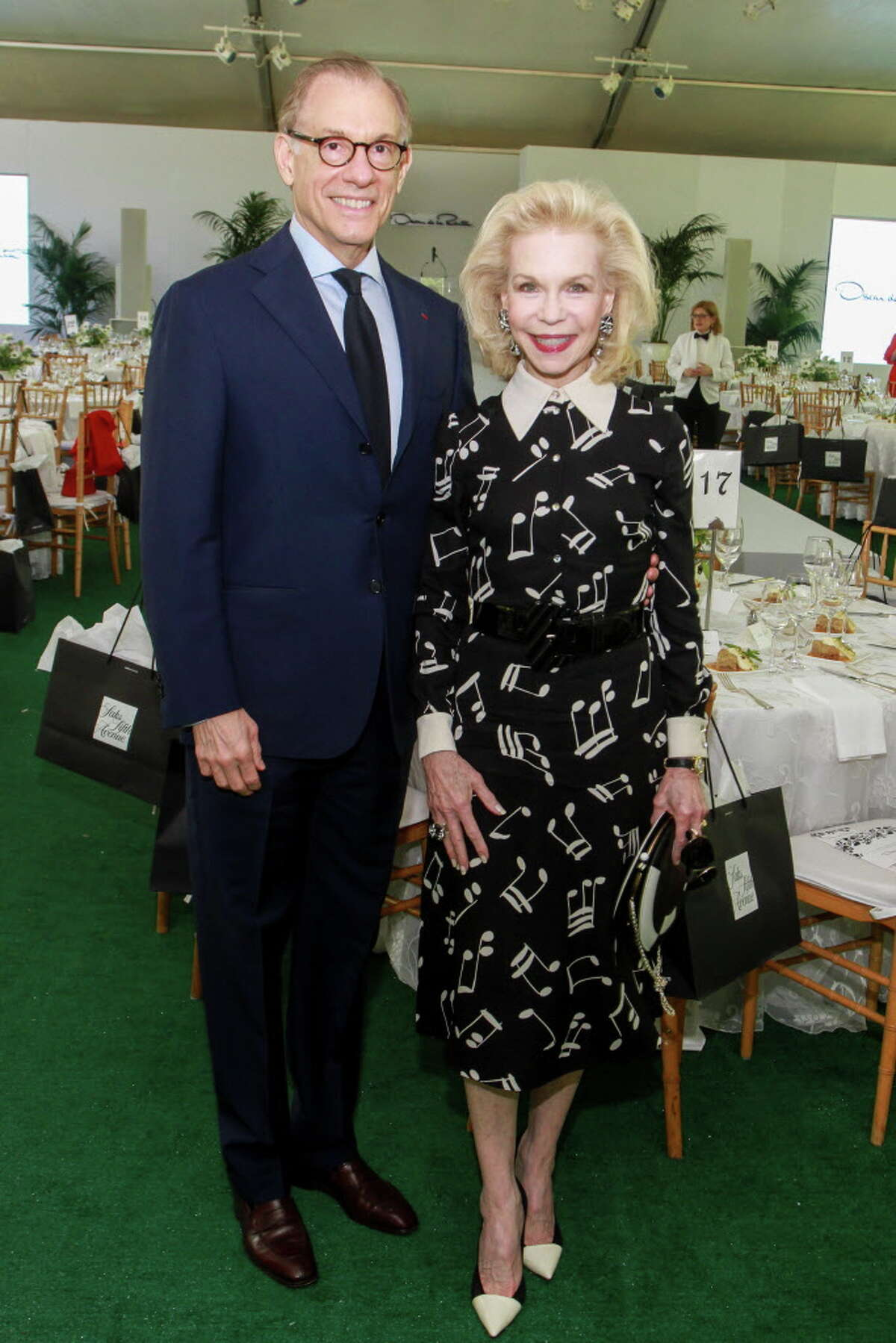 Gary Tinterow and Lynn Wyatt at the Museum of Fine Arts Bayou Bend Fashion Show and Luncheon. (For the Chronicle/Gary Fountain, March 31, 2017)