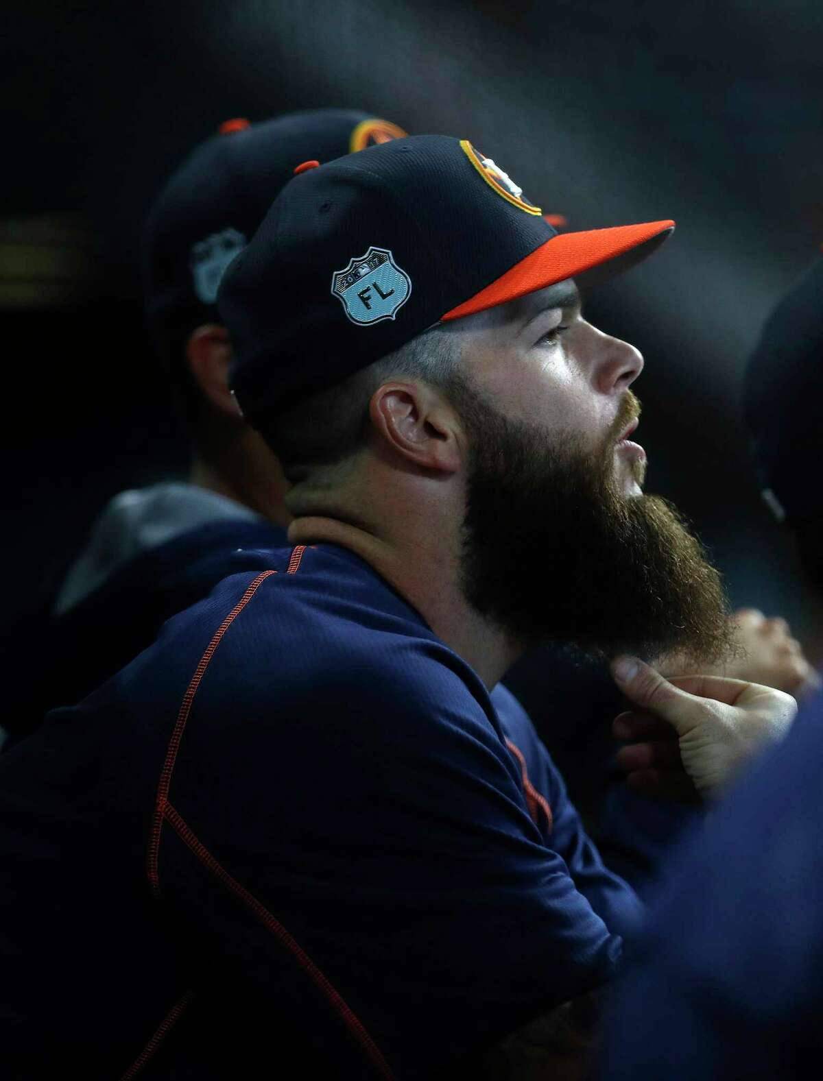Houston Astros starting pitcher Dallas Keuchel (60) in the dugout during the sixth inning of an MLB exhibition game at Minute Maid Park, Friday, March 31, 2017, in Houston.