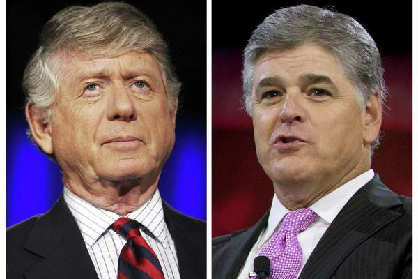 """Former """"Nightline"""" host Ted Koppel, left, and Sean Hannity of Fox News got into an argument recently on the CBS news show """"Sunday Morning. Hannity is calling on CBS to release the full tape of the exchange, in which the veteran anchor answered """"yes"""" when asked if he thought Hannity was bad for America."""