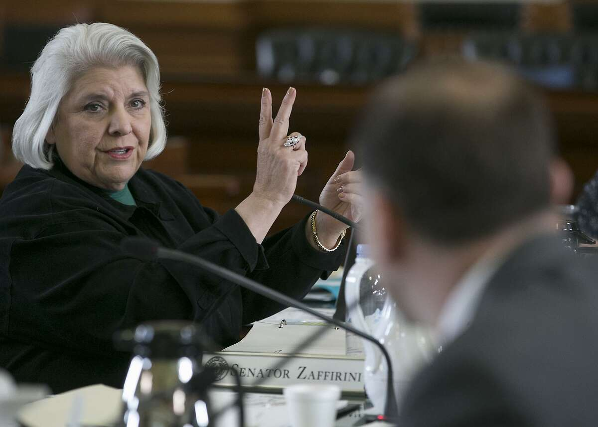 Texas Sen. Judith Zaffirini, D-Dist. 21, the author of Senate Bill 31, a statewide ban on texting while driving, she makes a point during the Senate State Affairs Committee hearing in Chambers, Monday, March 13, 2017, in Austin, Texas. (Ralph Barrera/Austin American-Statesman via AP)