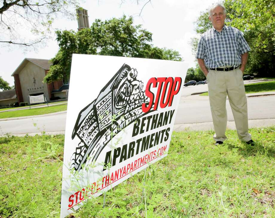 Harold Kidder opposes the Bethany United Methodist Church's proposal to build a 101-unit apartment complex for seniors. He bought his home across the street from the church 40 years ago assuming it would be a good, quiet neighbor. Photo: Elizabeth Conley, Staff / © 2017 Houston Chronicle