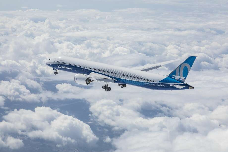 Boeing's newest variation of the 787 Dreamliner, the 787-10, completed its first test flight Friday in South Carolina, where it was built. The plane is shown here mid-flight. Photo: Courtesy Boeing/John D. Parker/Photo By: John D. Parker