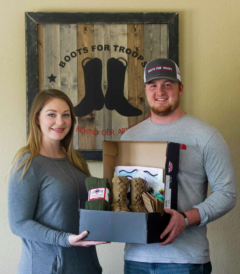 Jimmy Rogers, a U.S. Navy veteran, and his wife Lindsey started the non-profit organization Boots for Troops, which puts together personalized care packages for all military service men and women. Photo: Jason Fochtman, Staff Photographer / © 2017 Houston Chronicle