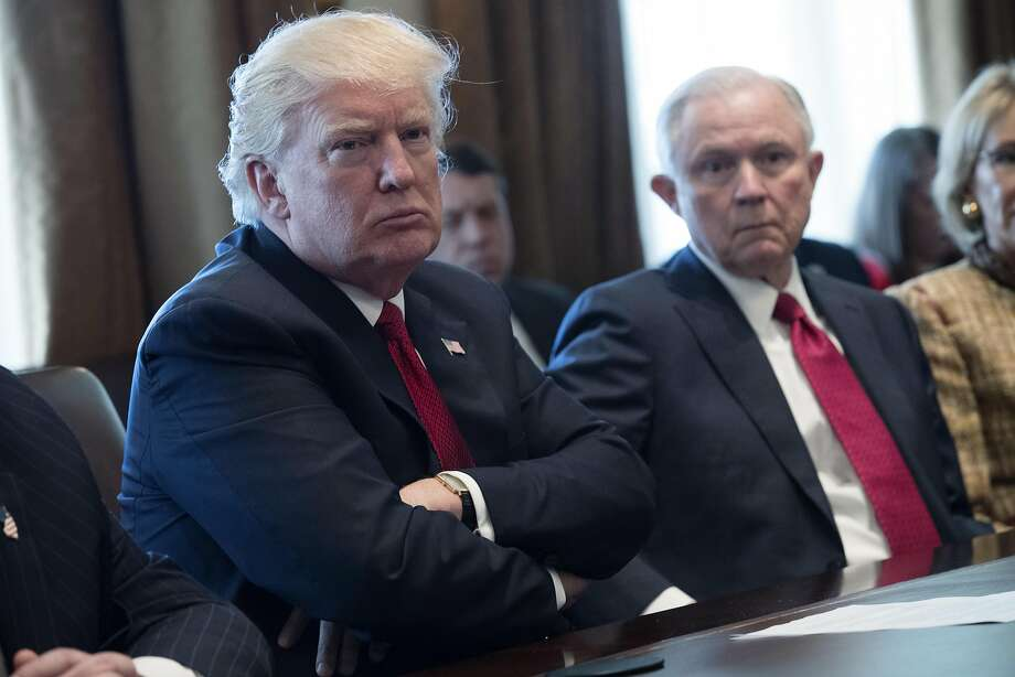 """U.S. President Donald Trump listens during an opioid and drug abuse listening session in the Roosevelt Room of the White House in Washington, D.C., U.S., on Wednesday, March 29, 2017. In a press briefing following the meeting, Press Secretary Sean Spicer blamed the crisis on """"cheap heroin"""" flooding the market, and credited the President with already taking action against drug cartels. Photographer: Shawn Thew/Pool via Bloomberg Photo: Shawn Thew, Bloomberg"""