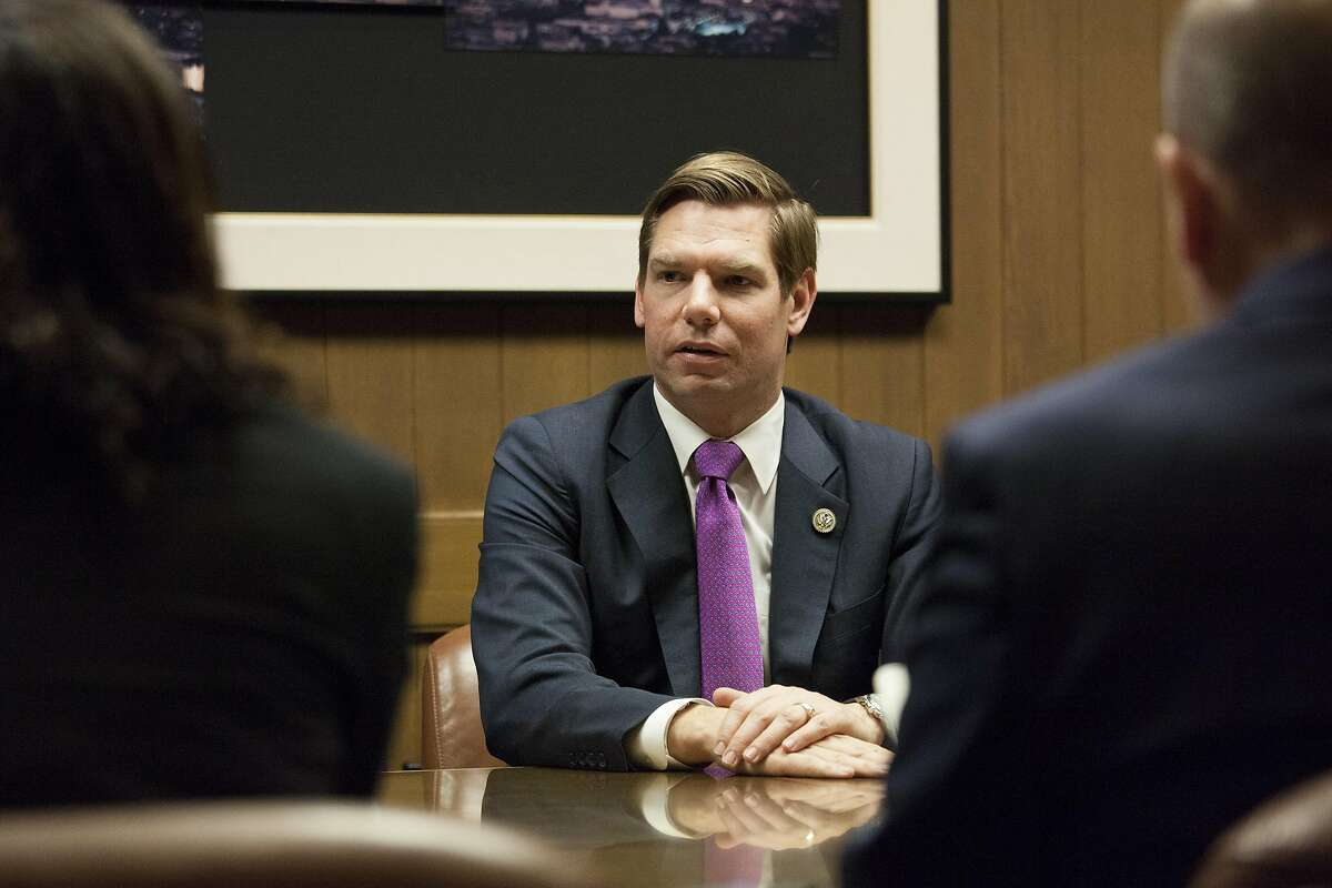 United States Representative Eric Swalwell meets with the Chronicle Editorial Board on Friday, March 31, 2017 in San Francisco, Calif.