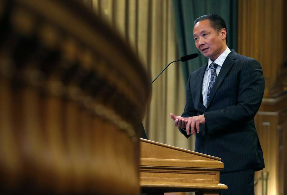 Public Defender Jeff Adachi speaks at a meeting of the Budget and Finance Sub-Committee at City Hall in San Francisco, Calif. on Thursday, March 2, 2017 which will consider appropriating funds to establish a legal unit within Adachi's office to defend immigrants in deportation cases. Photo: Paul Chinn, The Chronicle