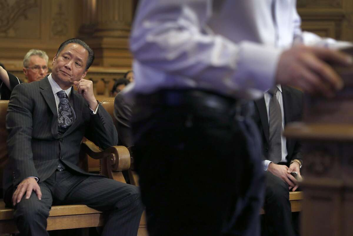 Public Defender Jeff Adachi listens to the public commentary session at a meeting of the Budget and Finance Sub-Committee at City Hall in San Francisco, Calif. on Thursday, March 2, 2017 which will consider appropriating funds to establish a legal unit within Adachi's office to defend immigrants in deportation cases.