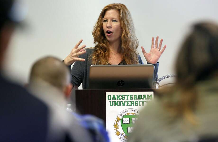 Dale Sky Jones, executive chancellor at Oakland's Oaksterdam University. addresses students enrolled in a marijuana class . Photo: Michael Macor, The Chronicle