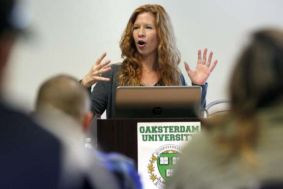 Dale Sky Jones executive chancellor at Oaksterdam University addresses students enrolled in a marijuana class, on Wed. March 15, 2017, in Oakland, Ca.