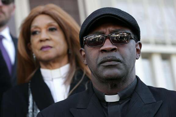 Rev. Dr. Aurea Lewis and Rev. Dr. Jasper Lowery, co-directors of the Urojas Community Services during a press conference on Fri. Mar. 31, 2017, in Oakland, Ca., where concerns were addressed about Monday's fatal fire at a halfway house which killed four people.