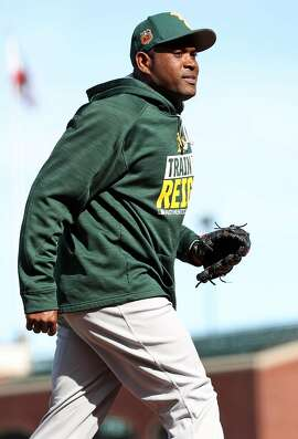 Oakland Athletics' Santiago Casilla before A's play San Francisco Giants during Bay Bridge Series at AT&T Park in San Francisco, Calif., on Friday, March 31, 2017.