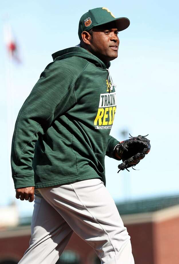 Oakland Athletics' Santiago Casilla before A's play San Francisco Giants during Bay Bridge Series at AT&T Park in San Francisco, Calif., on Friday, March 31, 2017. Photo: Scott Strazzante, The Chronicle