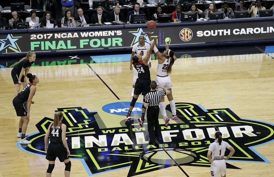 Stanford forward Erica McCall (24) and South Carolina forward A'ja Wilson (22) jump for the opening tipoff during an NCAA college basketball game in the semifinals of the women's Final Four, Friday, March 31, 2017, in Dallas. (AP Photo/Eric Gay) Photo: Eric Gay, Associated Press
