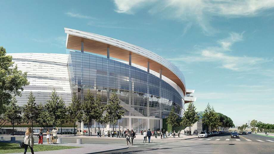 The Chase Center, located in the Mission Bay district of San Francisco, will be the future home of the Golden State Warriors. The 18,000 seat arena will also host entertainment events. These computer-generated renderings show an approximation of how the finished arena will look. It's expected to be completed in 2019. Photo: Courtesy Of The Golden State Warriors, Courtesy Of The Golden State Warriors