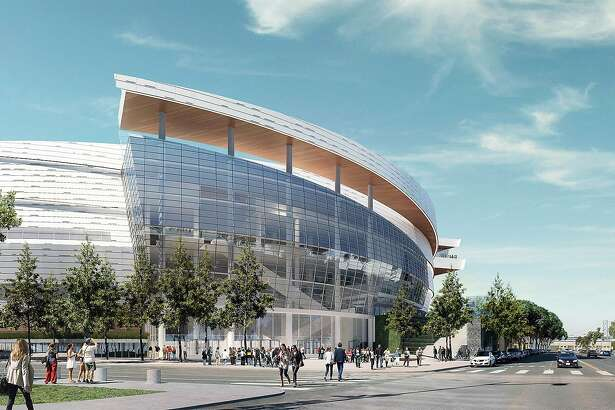 The Chase Center, located in the Mission Bay district of San Francisco, will be the future home of the Golden State Warriors. The 18,000 seat arena will also host entertainment events. These computer-generated renderings show an approximation of how the finished arena will look. It's expected to be completed in 2019.
