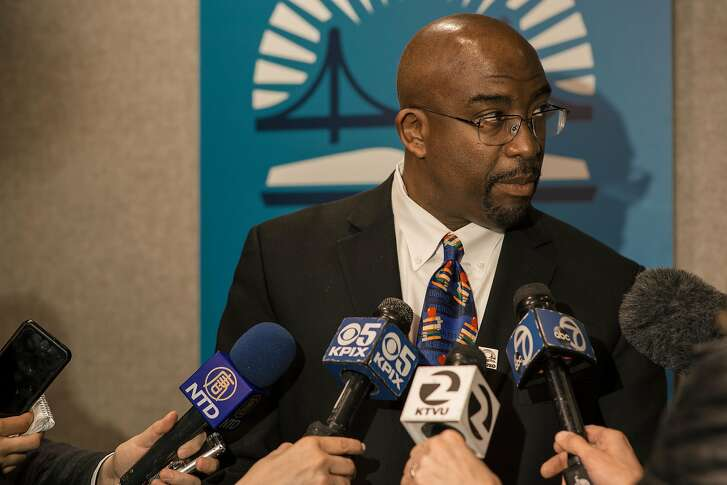 Dr. Vincent Matthews is interviewed by the press after the public announcement of his taking the position of superintendent of SFUSD at 555 Franklin in San Francisco on March 31, 2017.