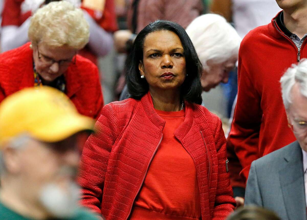 Stanford alumni Condoleeza Rice was in attendance as Stanford played South Carolina in the semifinals of the 2017 NCAA Women's Final Four on Friday, March 31, 2017. (Photo by Stewart F. House)