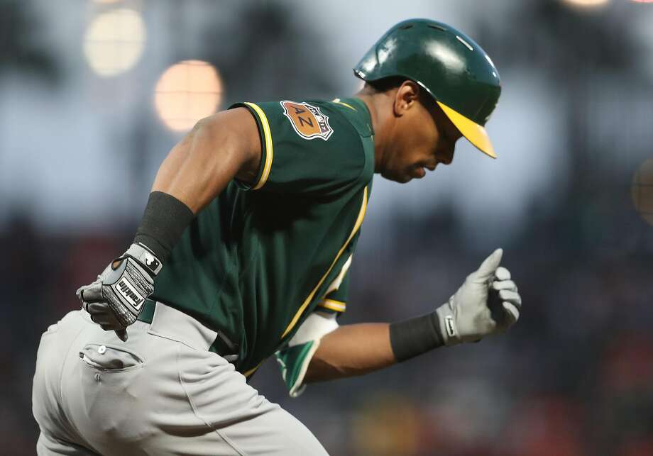 Oakland Athletics' Khris Davis in 2nd inning against San Francisco Giants during Bay Bridge Series at AT&T Park in San Francisco, Calif., on Friday, March 31, 2017. Photo: Scott Strazzante, The Chronicle