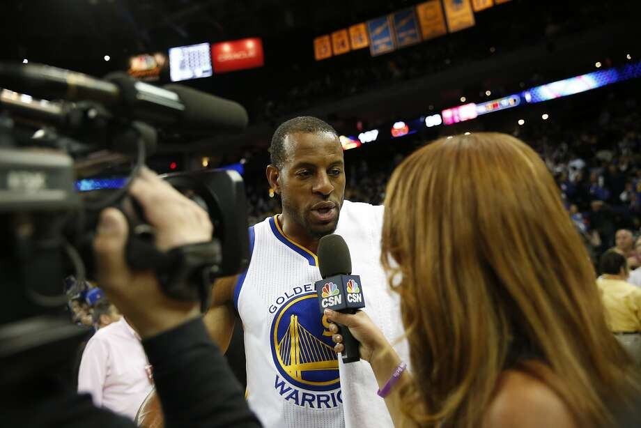 Andre Iguodala (9) of the Golden State Warriors gives an interview after his NBA basketball game against the Houston Rockets at Oracle Arena in Oakland, Calif. on Friday, March 31, 2017. The Warriors defeated the Rockets 107-98. Photo: Stephen Lam, Special To The Chronicle