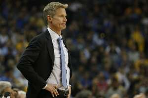 Head Coach Steve Kerr of the Golden State Warriors is seen on the sideline during the first quarter of his NBA basketball game against the Houston Rockets at Oracle Arena in Oakland, Calif. on Friday, March 31, 2017. The Warriors defeated the Rockets 107-98.