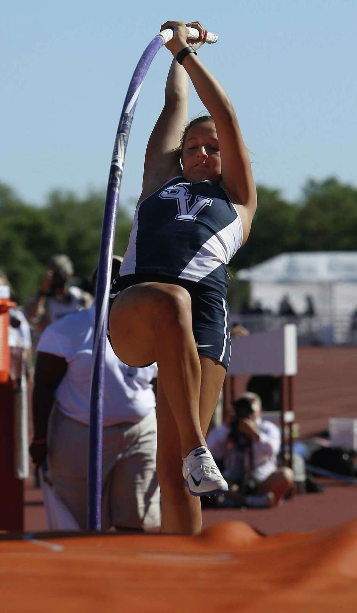 Smithson Valley's Colleen Clancy competes in the girls pole vault during the Texas Relays in Austin, Friday, March 31, 2017.
