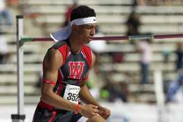 Wagner's Jamal Anderson competes in the boys high jump during the Texas Relays in Austin on March 31, 2017.