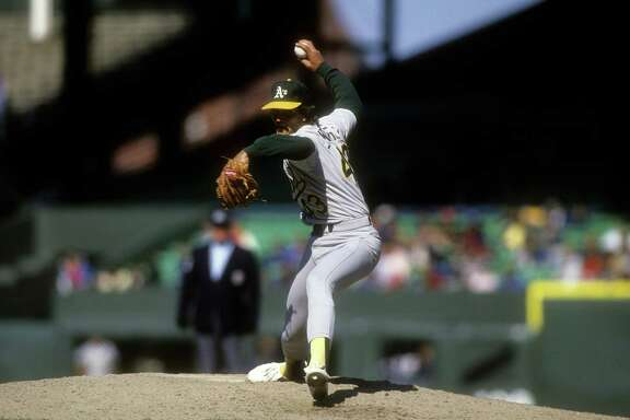 CIRCA 1992: Pitcher Dennis Eckersley #43 of the Oakland Athletics pitches during a Major League Baseball game circa 1992. Eckersley  played for the Athletics from 1987-95. (Photo by Focus on Sport/Getty Images)