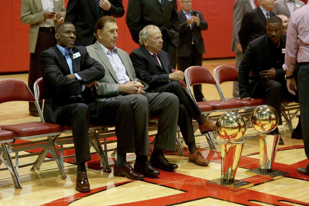 Former player Vernon Maxwell, left, with former head coach Rudy Tomjanovich and owner Leslie Alexander at a photo shoot honoring the Houston Rockets 20th anniversary of the 1993-94 and 1994-95 NBA back-to-back champion teams at the Toyota Center Thursday, March 19, 2015, in Houston, Texas. ( Gary Coronado / Houston Chronicle )