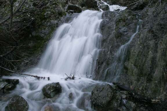 One of the cascading falls of Donner Creek in upper Donner Canyon.