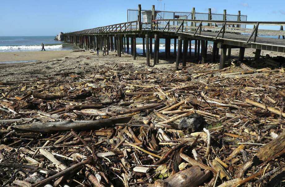 Debris that has washed ashore during the winter storms covers Seacliff State Beachnear the Cement Ship. Photo: Michael Macor / The Chronicle / ONLINE_YES