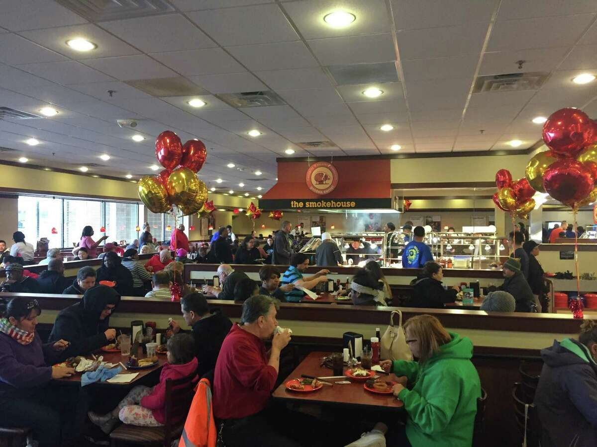 A packed house during the opening of Golden Corral in Milford
