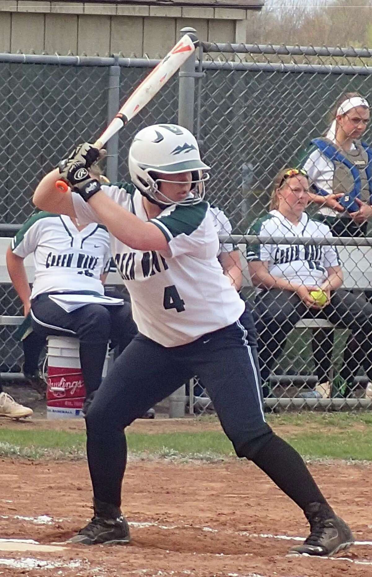 New Milford shortstop Avery Kelly had a home run, a triple and two doubles in the Green Wave's 9-2 softball victory over Bunnell at New Milford High School on April 25, 2016.