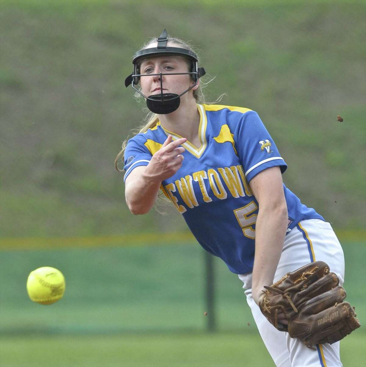 Newtown pitcher Sara Kennedy (5) during the SWC softball game between Newtown and Joel Barlow high schools on Friday afternoon, April 22, 2016, at Joel Barlow High School, in Redding, Conn.