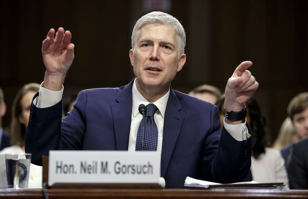 In this March 22, 2017, file photo, Supreme Court Justice nominee Judge Neil Gorsuch testifies on Capitol Hill in Washington, at his confirmation hearing before the Senate Judiciary Committee.