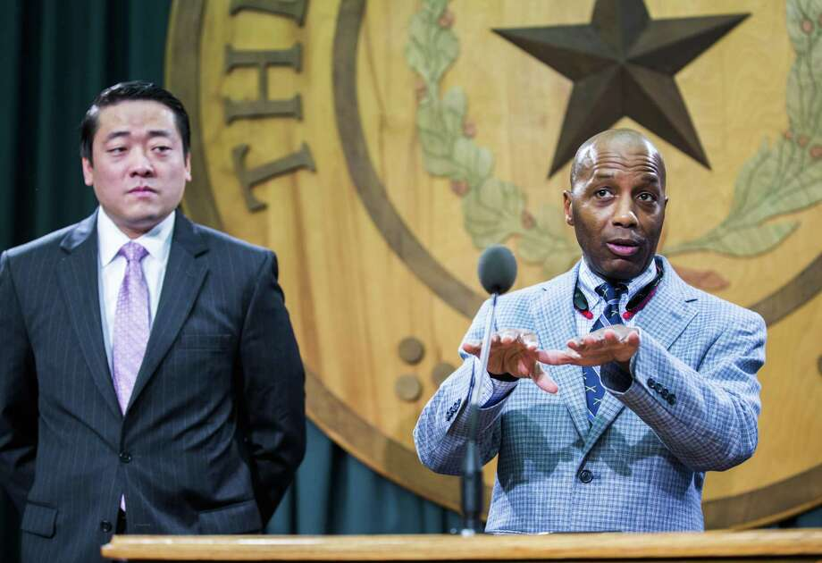 State Rep. James White, R-Hillister (right), has filed The Texas Hero Protection Act in the Legislature. Photo: Ashley Landis /Dallas Morning News / The Dallas Morning News