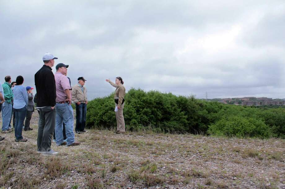 Wendy Leonard of the city's Parks and Recreation Department leads a tour of the former Classen-Steubing Ranch. Photo: Brendan Gibbons /San Antonio Express-News