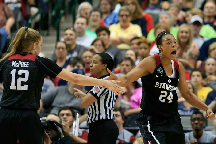 Brittany McPhee and Erica McCall during the second half against South Carolina, when Stanford was outscored 42-24. Photo: Ron Jenkins, Getty Images