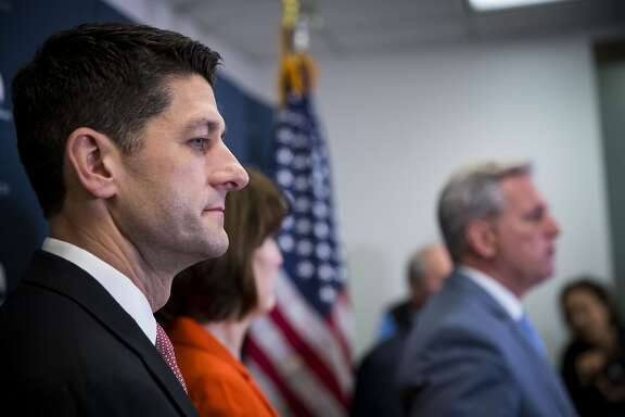 FILE -- House Speaker Paul Ryan speaks after meeting with Republican legislators, on Capitol Hill in Washington, March 28, 2017. Ryan is supporting a proposed Òborder adjustmentÓ tax as a way to satisfy President Donald TrumpÕs protectionist impulses without imposing punitive, and potentially even more disruptive, tariffs.  (Doug Mills/The New York Times)