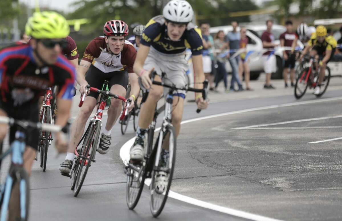 Male cyclists compete in Rice University's 60th Annual Beer Bike competition on Saturday, April 1, 2017, in Houston. ( Elizabeth Conley / Houston Chronicle )