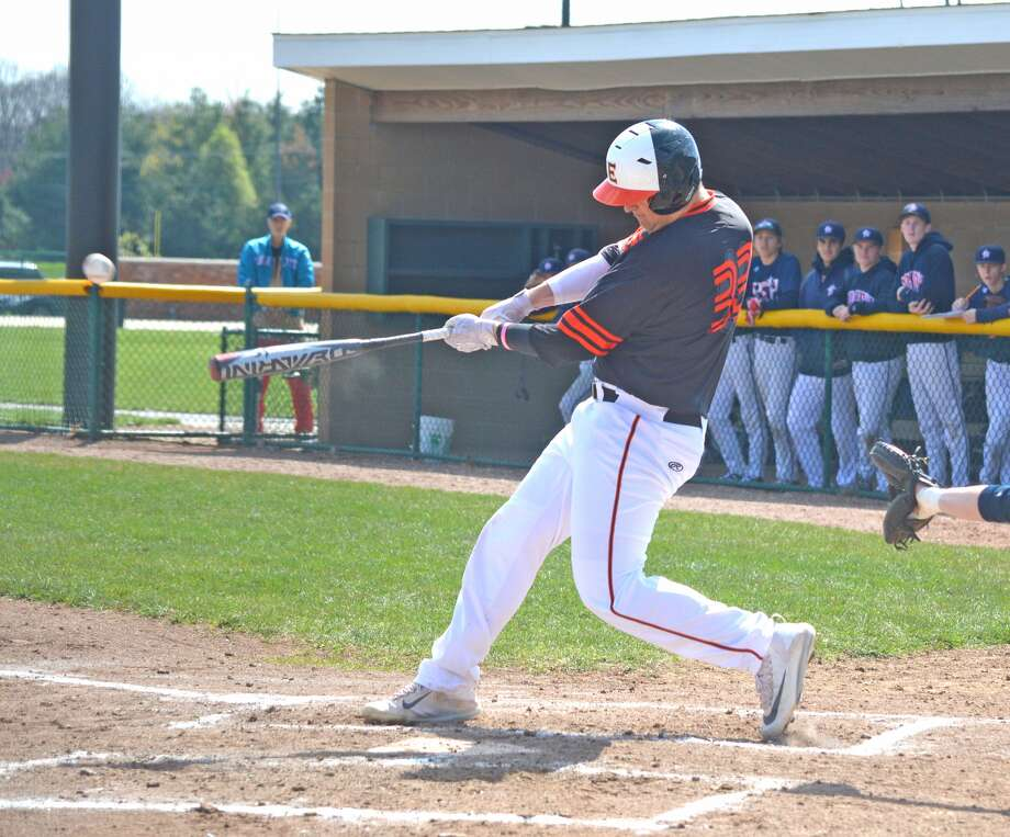 Edwardsville freshman Drake Westcott hits a two-run double in the first inning of Saturday's non-conference home game against Parkway South.