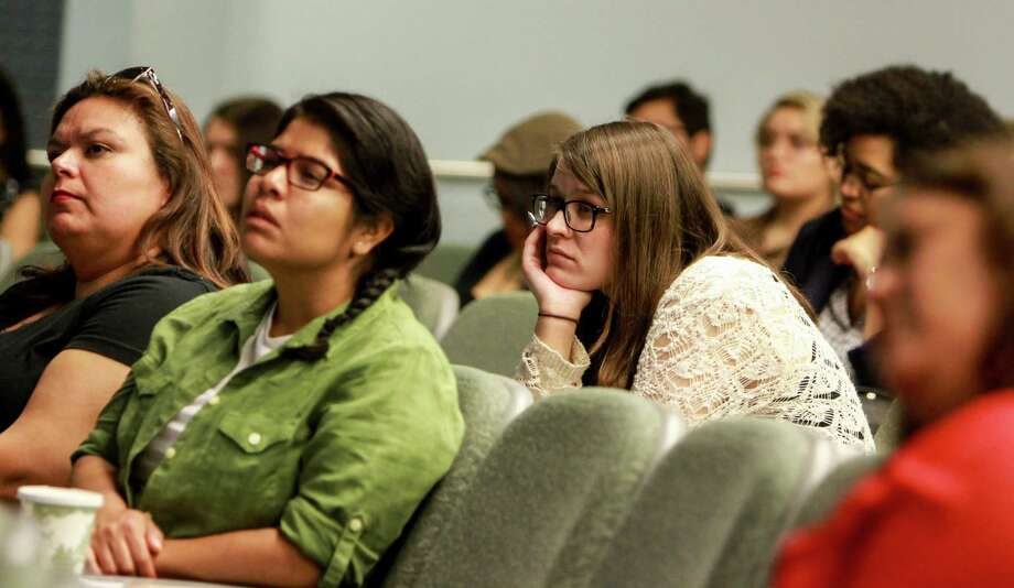 Elena Silva-Leal, from left, Bernadette Blanco and Kira Cary during Dr. Julio Cammarota's talk at the University of Houston Center for Mexican American Studies Spring Conference.  (For the Chronicle/Gary Fountain, April 1, 2017) Photo: Gary Fountain, For The Chronicle / Copyright 2017 Gary Fountain